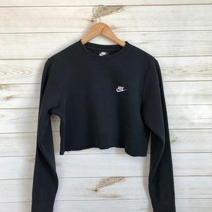 NIKE Womens Sweatshirt Black Cropped Long Sleeve